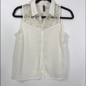 Divided H&M ivory button down blouse womens size 4
